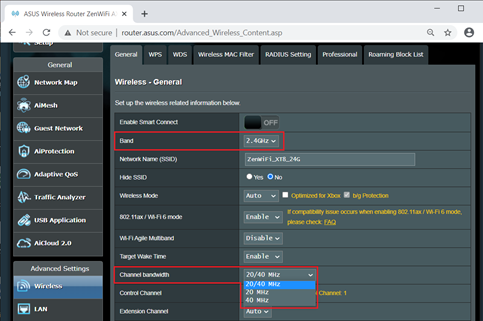 Adjust Channel Bandwidth in Asus AC2600 Router